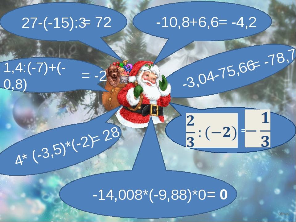 -3,04-75,66 -10,8+6,6 -14,008*(-9,88)*0 = 4* (-3,5)*(-2) 1,4:(-7)+(-0,8) 27-...