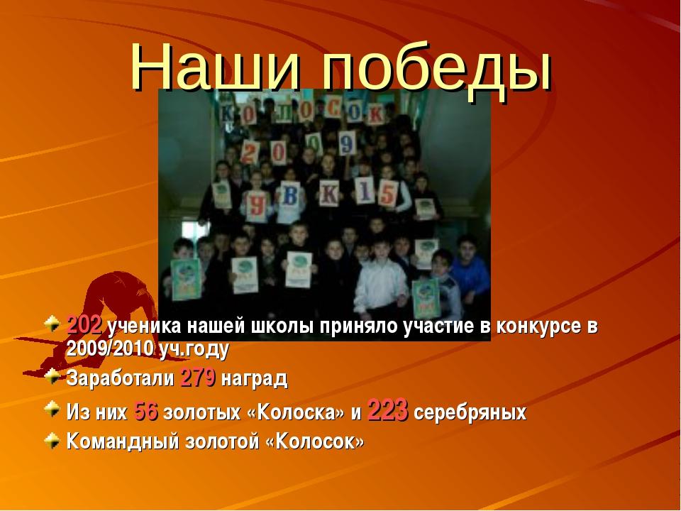 Наши победы 202 ученика нашей школы приняло участие в конкурсе в 2009/2010 уч...