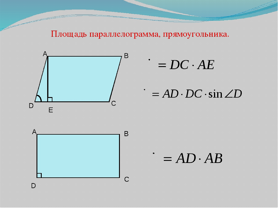 Площадь параллелограмма, прямоугольника. D A B C D A B C E