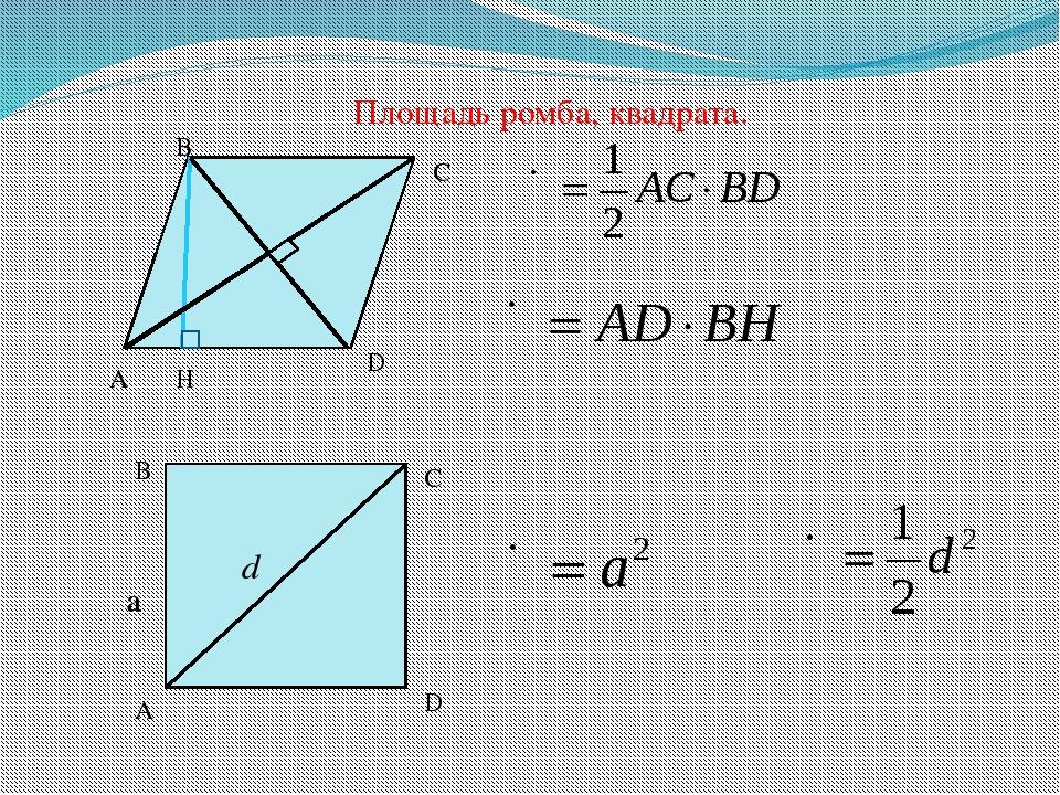 Площадь ромба, квадрата. A B C D H d A B C D a