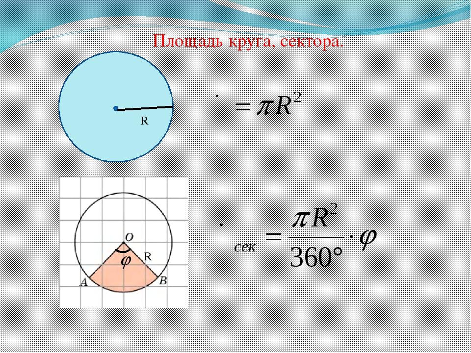 R R Площадь круга, сектора.