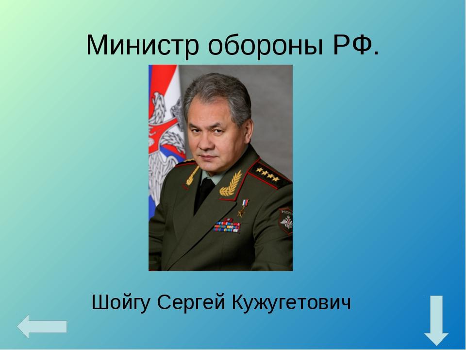 Министр обороны РФ. Шойгу Сергей Кужугетович