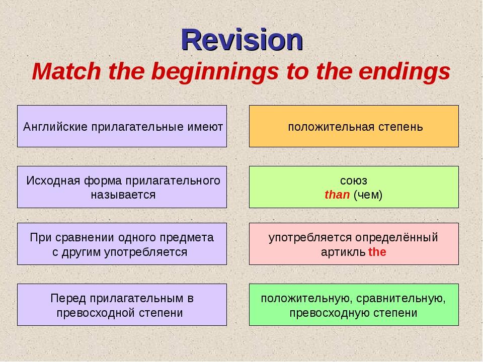 Revision Match the beginnings to the endings Английские прилагательные имеют...