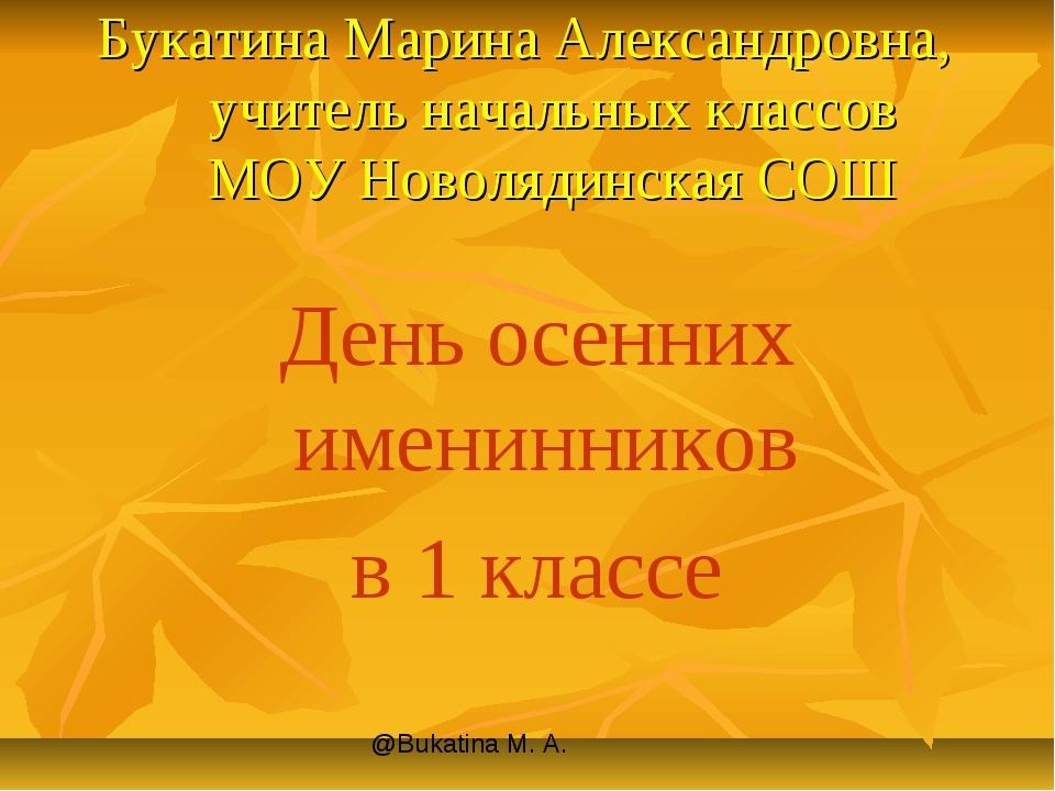 Букатина Марина Александровна, учитель начальных классов МОУ Новолядинская СО...