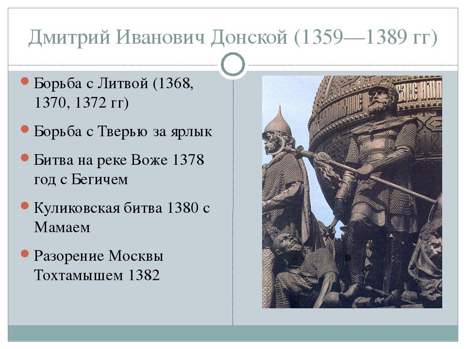 Дмитрий Иванович Донской (1359—1389 гг) Борьба с Литвой (1368, 1370, 1372 гг)...