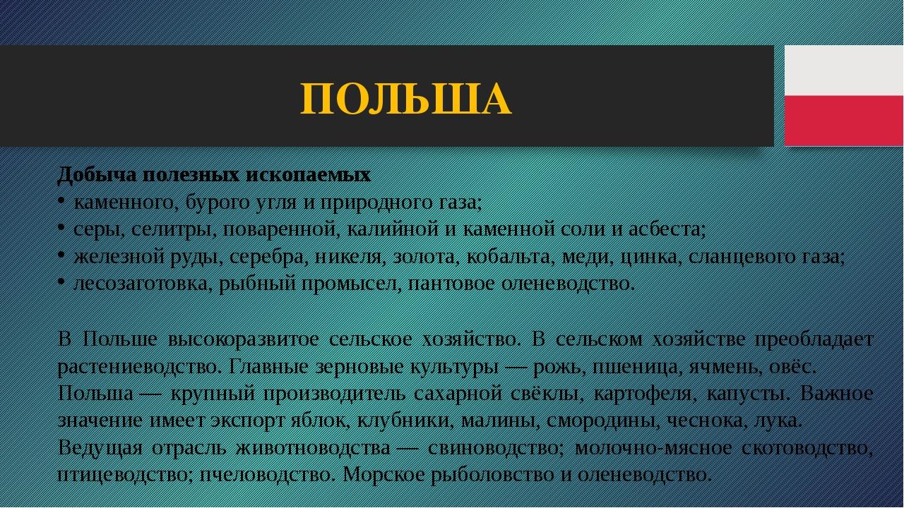 ПОЛЬША Добыча полезных ископаемых каменного, бурого угля и природного газа; с...