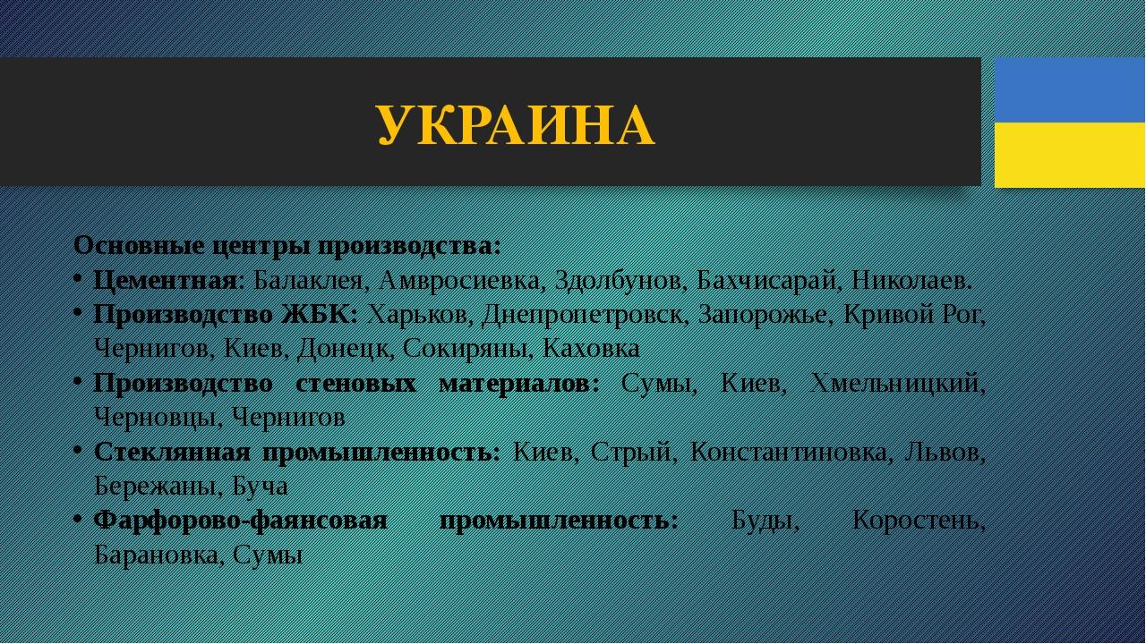 УКРАИНА Основные центры производства: Цементная: Балаклея, Амвросиевка, Здолб...