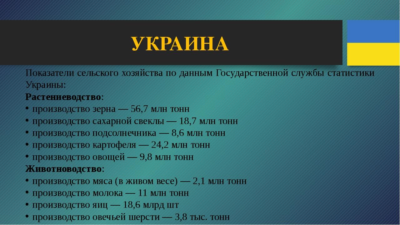 УКРАИНА Показатели сельского хозяйства по данным Государственной службы стати...
