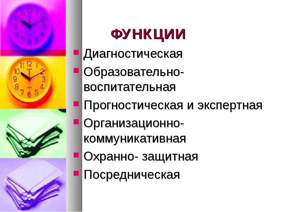 ФУНКЦИИ Диагностическая Образовательно-воспитательная Прогностическая и экспе...