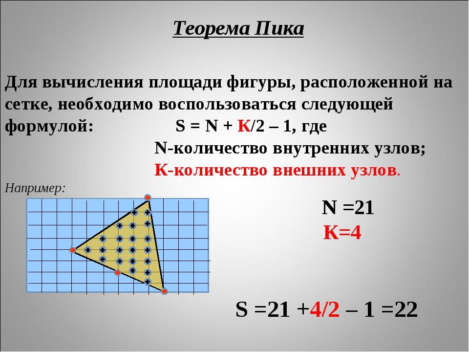 Для вычисления площади фигуры, расположенной на сетке, необходимо воспользова...