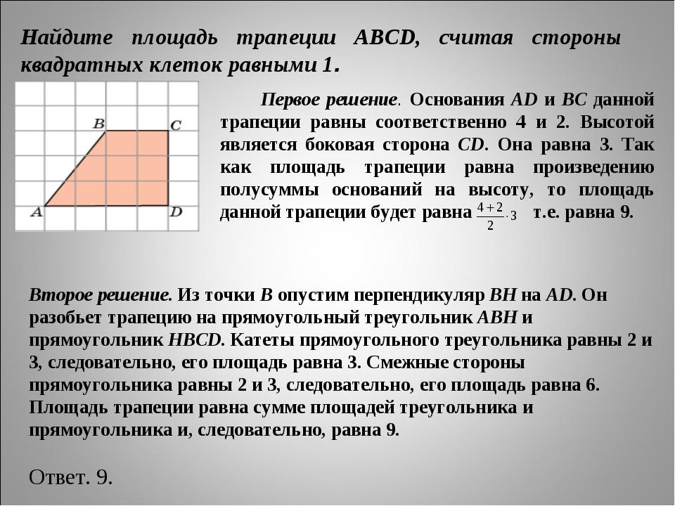 Найдите площадь трапеции ABCD, считая стороны квадратных клеток равными 1. П...