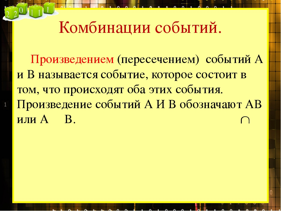 Комбинации событий. Произведением (пересечением) событий А и В называется со...