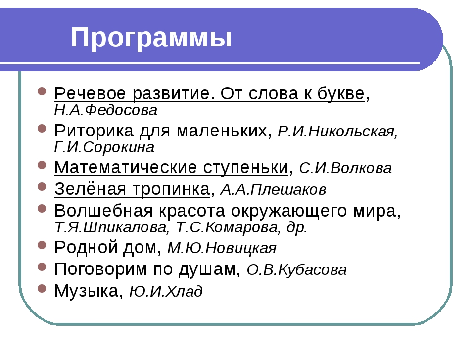 Программы Речевое развитие. От слова к букве, Н.А.Федосова Риторика для мален...