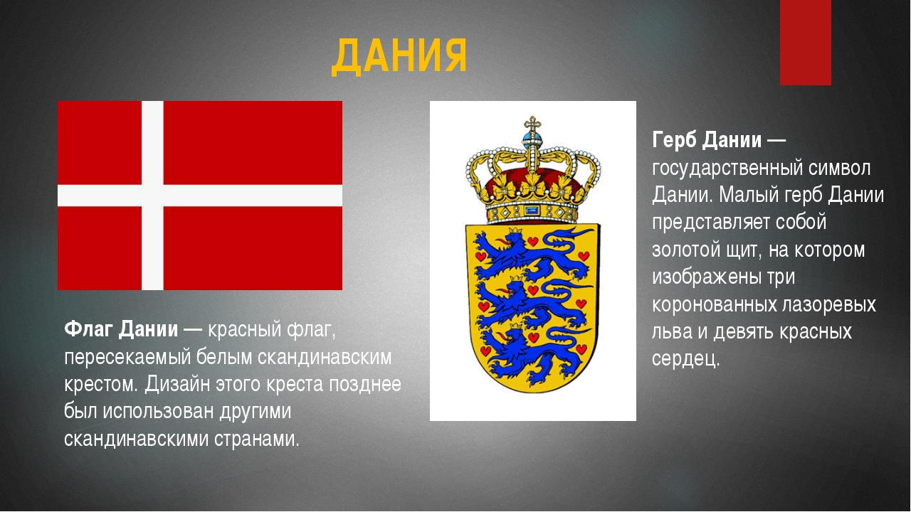 ДАНИЯ Флаг Дании — красный флаг, пересекаемый белым скандинавским крестом. Ди...
