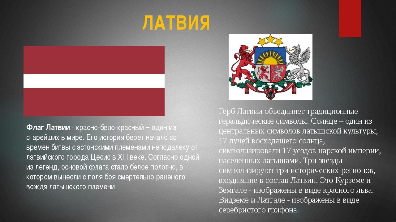 ЛАТВИЯ Флаг Латвии - красно-бело-красный – один из старейших в мире. Его исто...