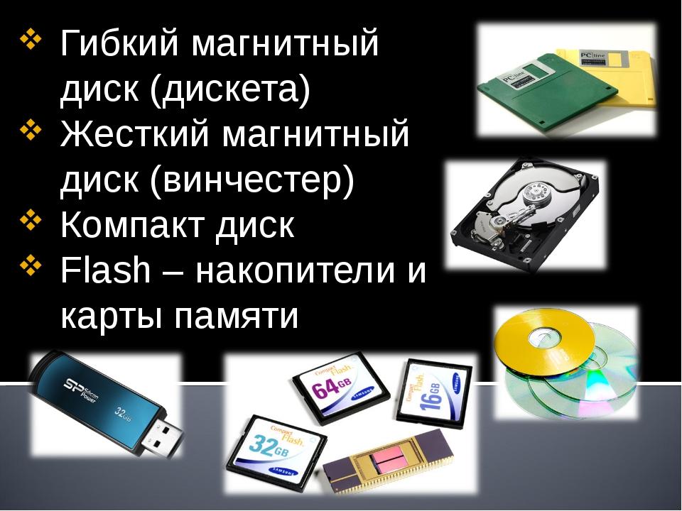 Гибкий магнитный диск (дискета) Жесткий магнитный диск (винчестер) Компакт ди...