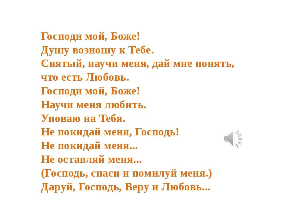 Господи мой, Боже! Душу возношу к Тебе. Святый, научи меня, дай мне понять, ч...