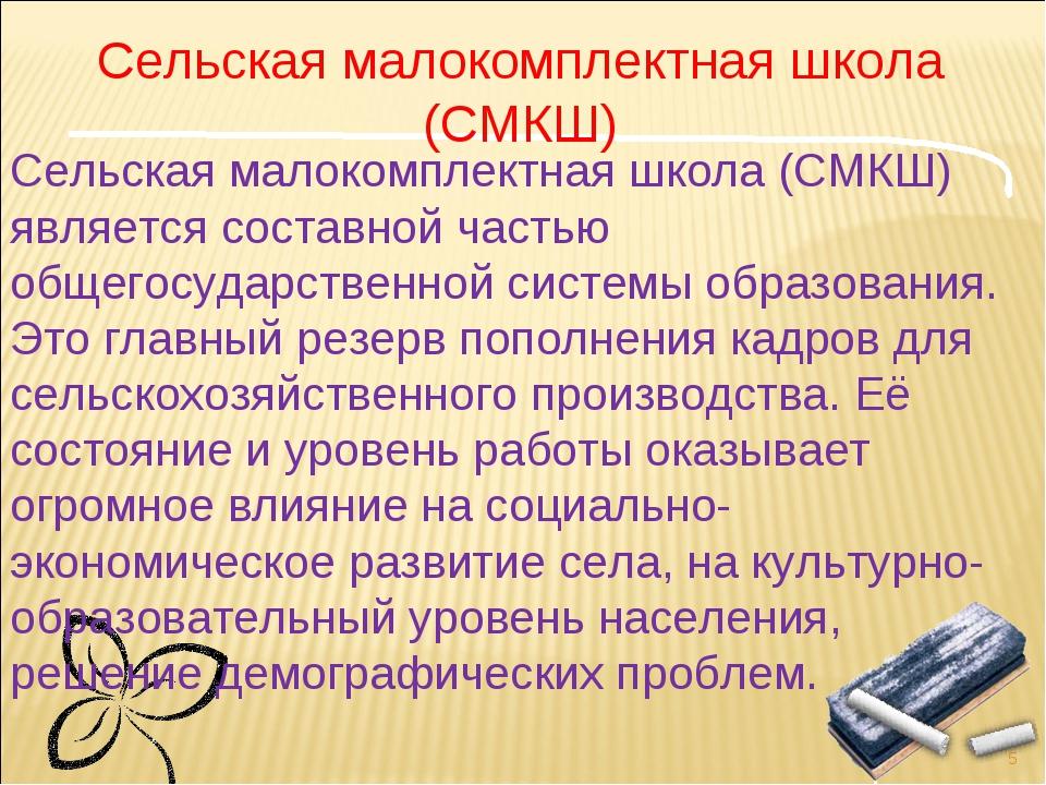 * Сельская малокомплектная школа (СМКШ) является составной частью общегосудар...