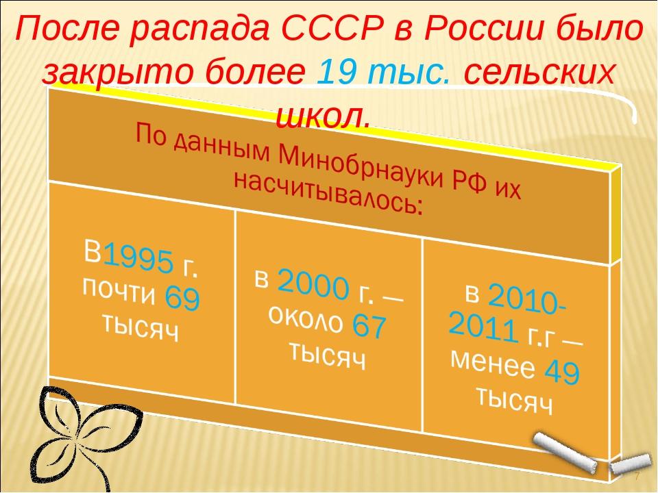 * После распада СССР в России было закрыто более 19 тыс. сельских школ.