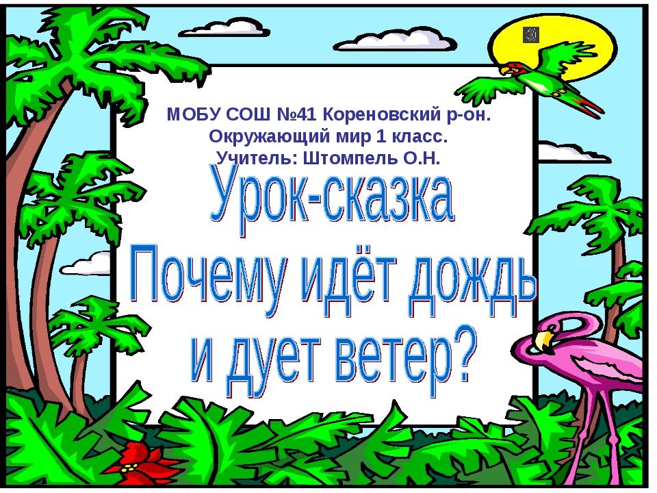 МОБУ СОШ №41 Кореновский р-он. Окружающий мир 1 класс. Учитель: Штомпель О.Н.