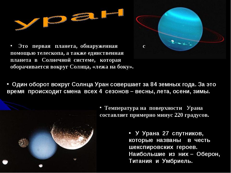 Это первая планета, обнаруженная с помощью телескопа, а также единственная п...