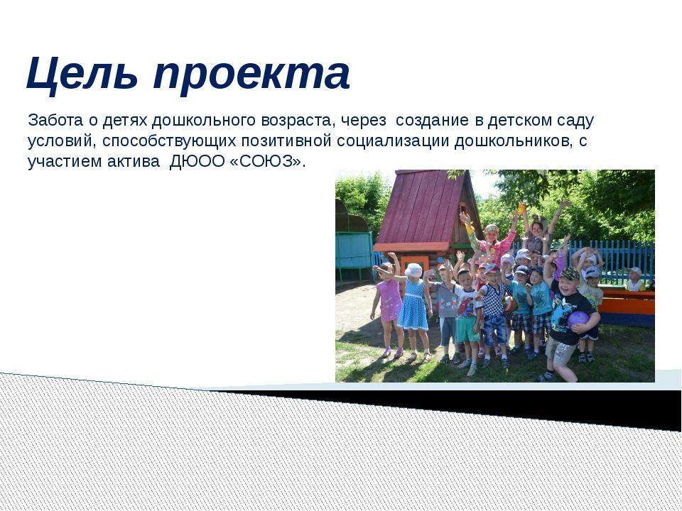 Цель проекта Забота о детях дошкольного возраста, через создание в детском са...