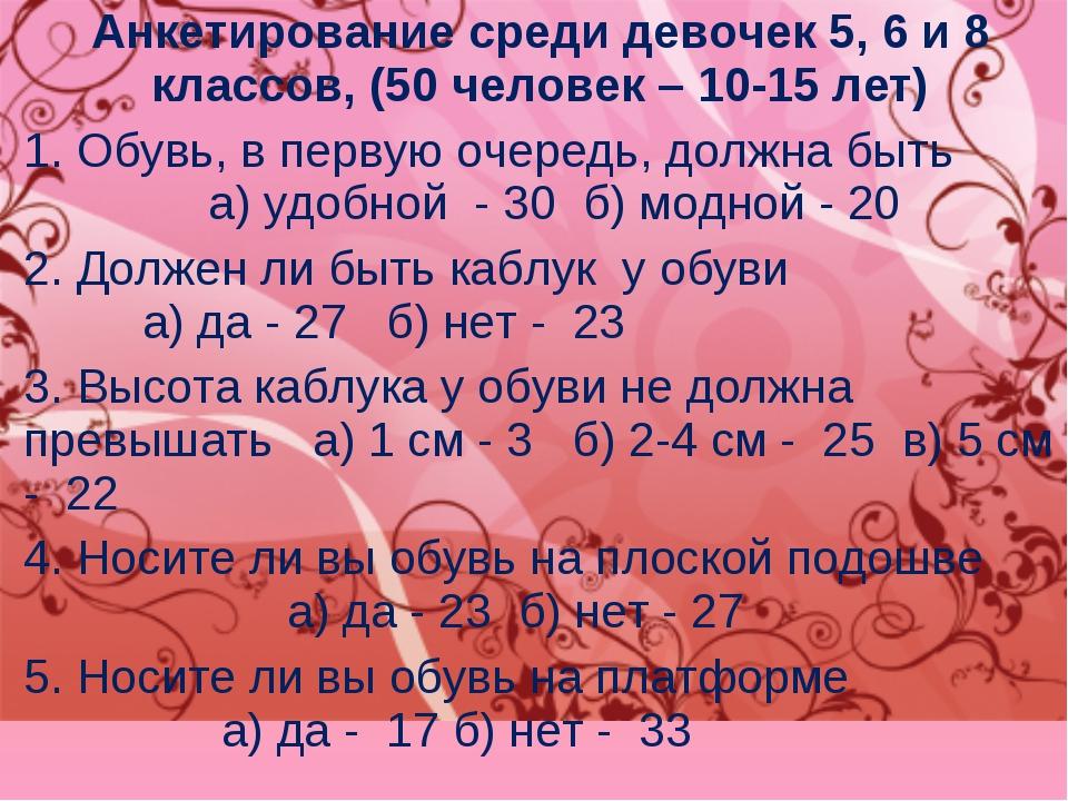 Анкетирование среди девочек 5, 6 и 8 классов, (50 человек – 10-15 лет) 1. Обу...