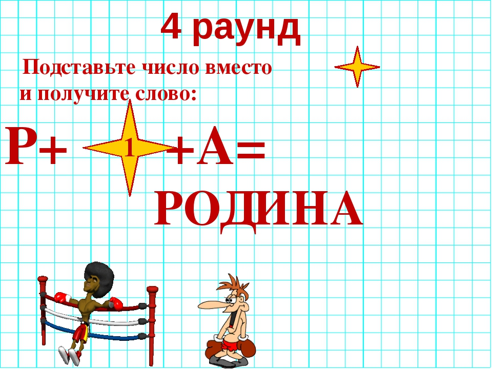 4 раунд Подставьте число вместо и получите слово: Р+ +А= 1 РОДИНА