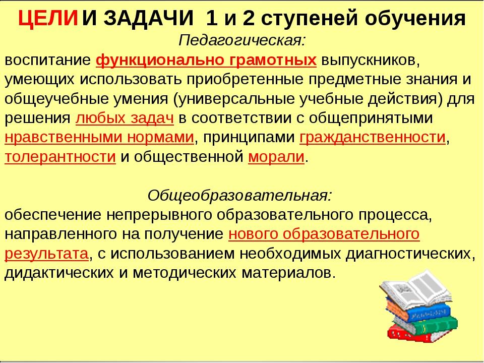 ЦЕЛИ И ЗАДАЧИ 1 и 2 ступеней обучения Педагогическая: воспитание функциональн...