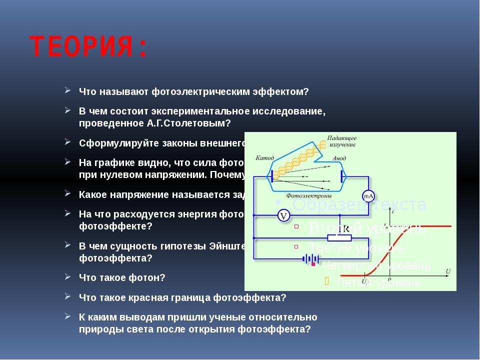 ТЕОРИЯ: Что называют фотоэлектрическим эффектом? В чем состоит эксперименталь...