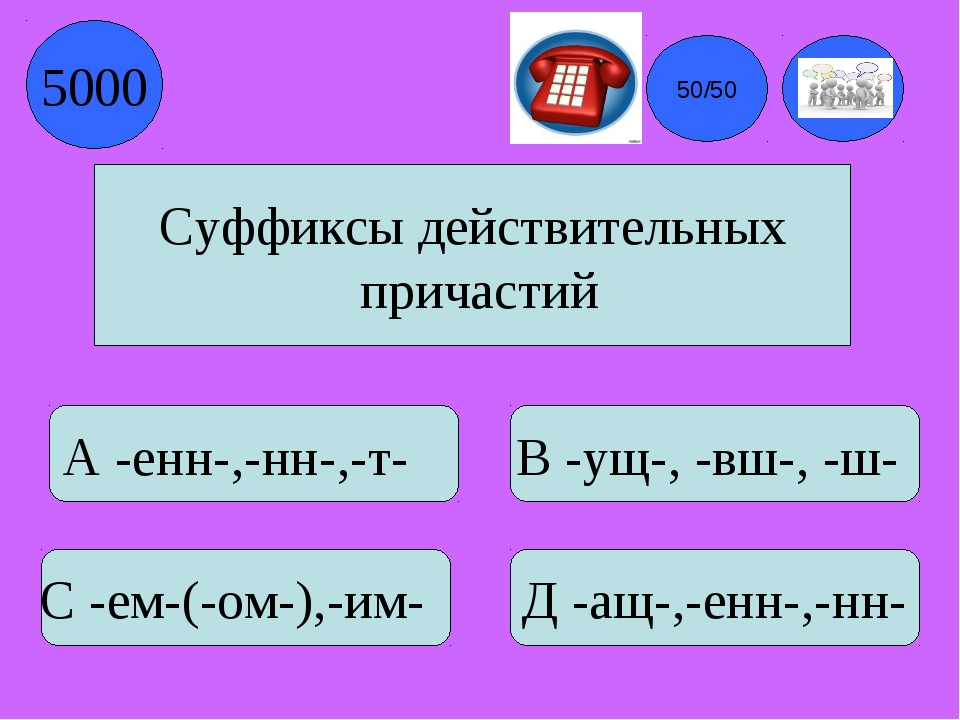Суффиксы действительных причастий А -енн-,-нн-,-т- В -ущ-, -вш-, -ш- С -ем-(-...