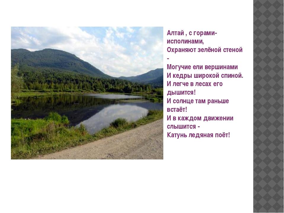 Алтай , с горами-исполинами, Охраняют зелёной стеной - Могучие ели вершинами...