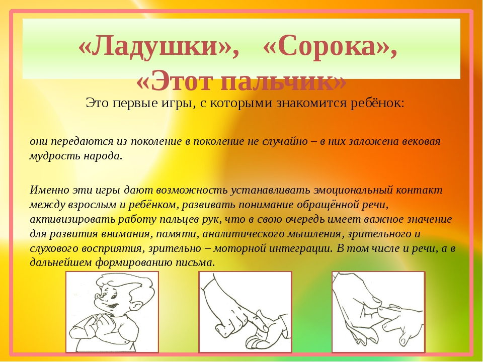 «Ладушки»,   «Сорока»,  «Этот пальчик»      Это первые игры, с которыми знак...