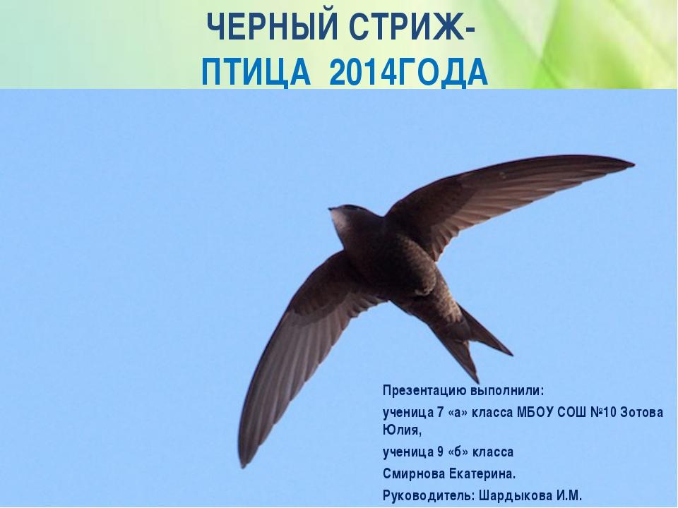 ЧЕРНЫЙ СТРИЖ- ПТИЦА 2014ГОДА Презентацию выполнили: ученица 7 «а» класса МБОУ...