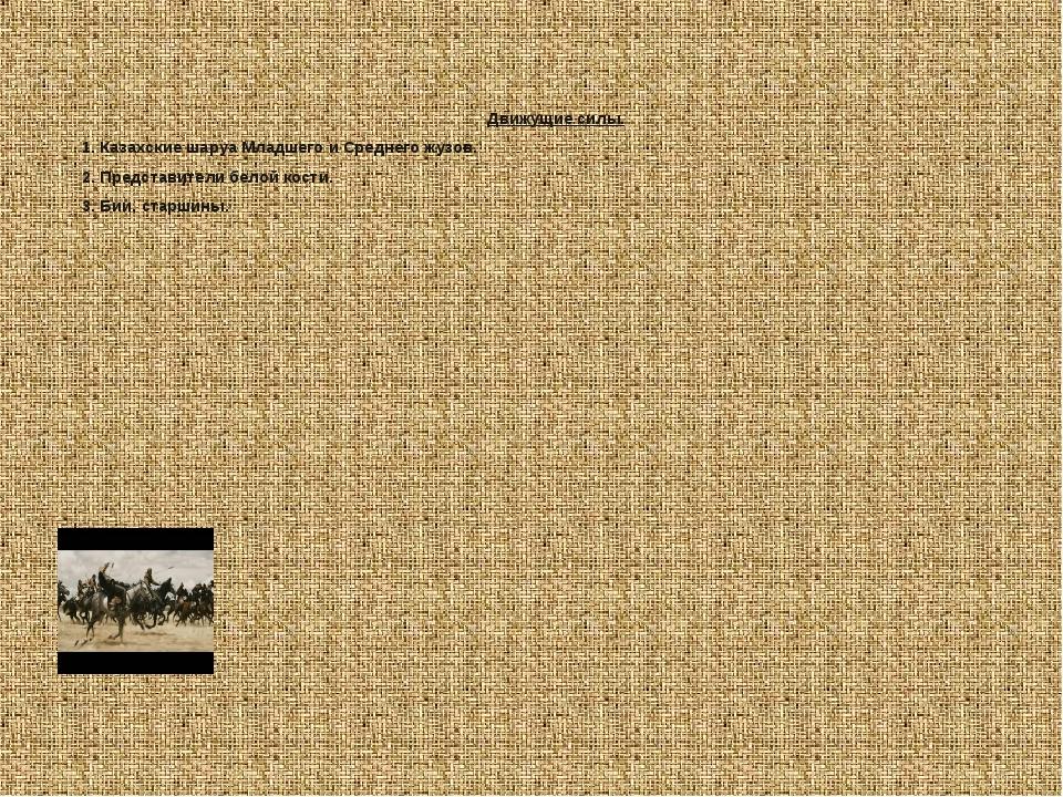 Движущие силы. 1. Казахские шаруа Младшего и Среднего жузов. 2. Представители...