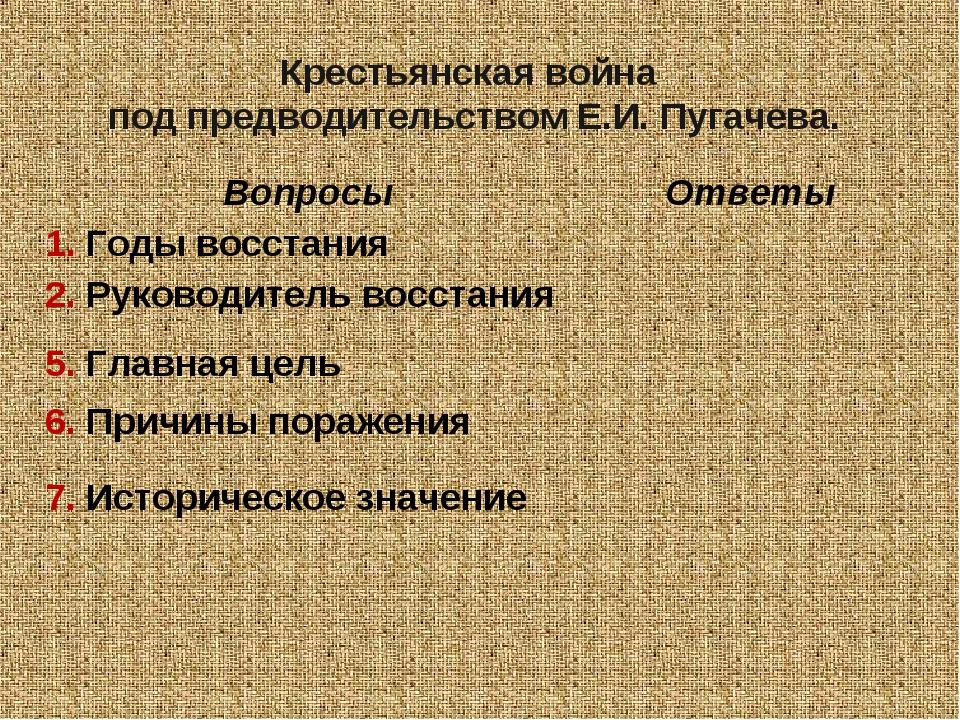 Крестьянская война под предводительством Е.И. Пугачева. ВопросыОтветы 1. Год...