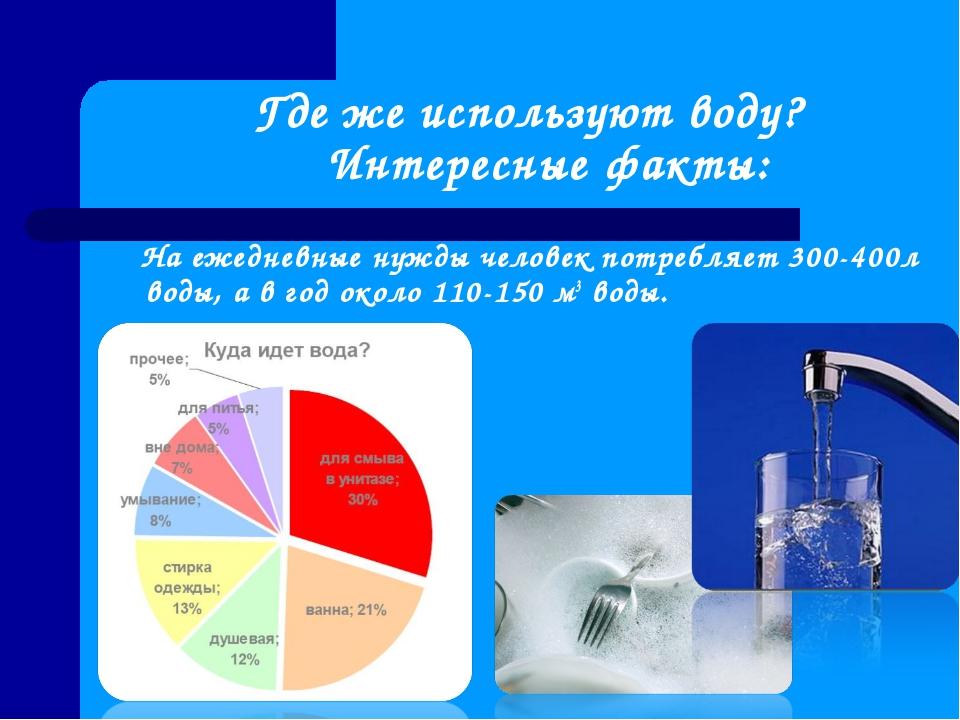 Где же используют воду? Интересные факты: На ежедневные нужды человек потреб...