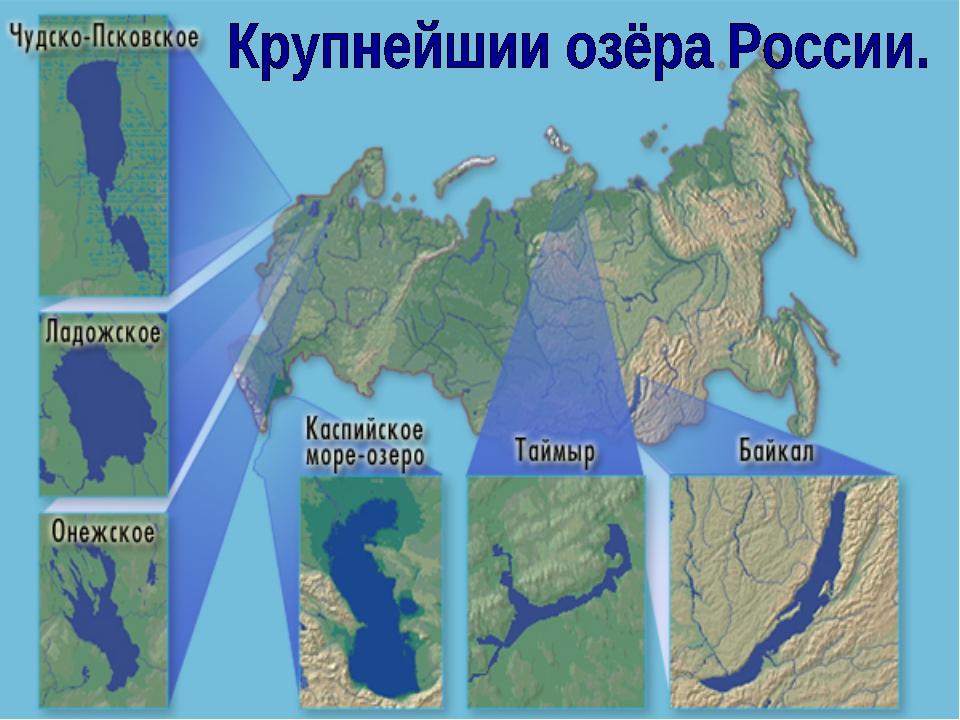 Основные запасы пресных вод сосредоточены в озёрах, водохранилищах, ледниках...