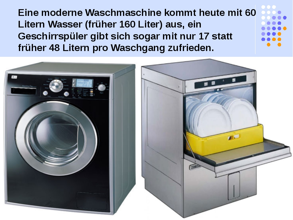 Eine moderne Waschmaschine kommt heute mit 60 Litern Wasser (früher 160 Liter...