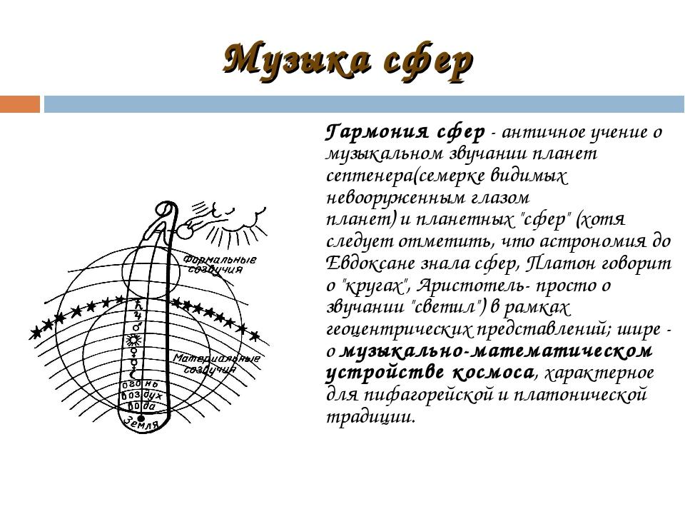 Музыка сфер Гармония сфер- античное учение о музыкальном звучании планет сеп...