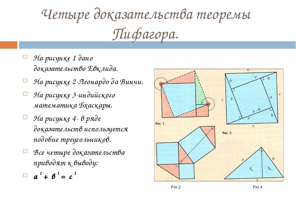 Четыре доказательства теоремы Пифагора. На рисунке 1 дано доказательство Евкл...