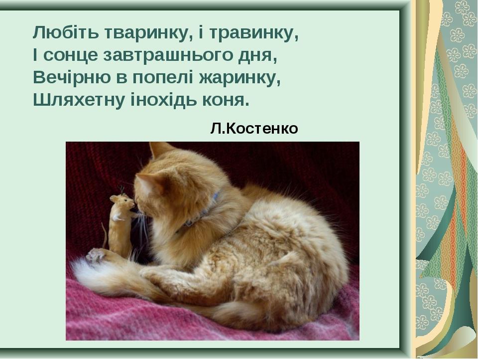 Любіть тваринку, і травинку, І сонце завтрашнього дня, Вечірню в попелі жарин...
