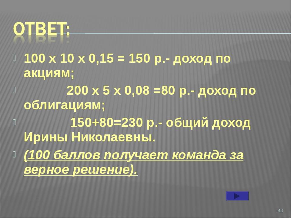 100 х 10 х 0,15 = 150 р.- доход по акциям; 200 х 5 х 0,08 =80 р.- доход по об...