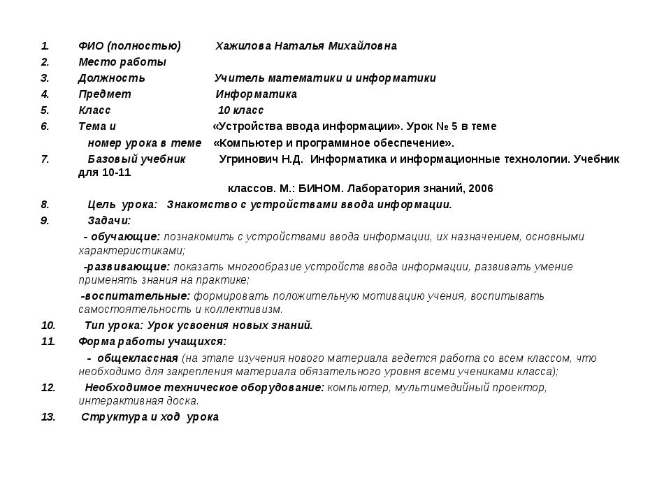 ФИО (полностью) Хажилова Наталья Михайловна Место работы Должность Учитель ма...