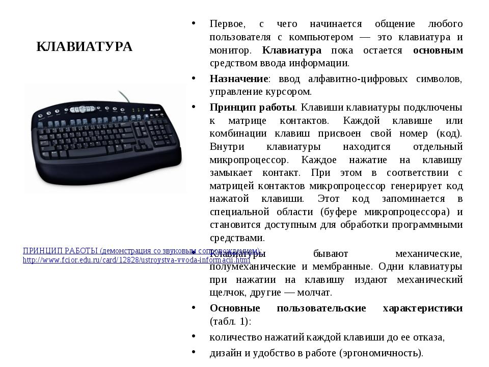 КЛАВИАТУРА Первое, с чего начинается общение любого пользователя с компьютеро...