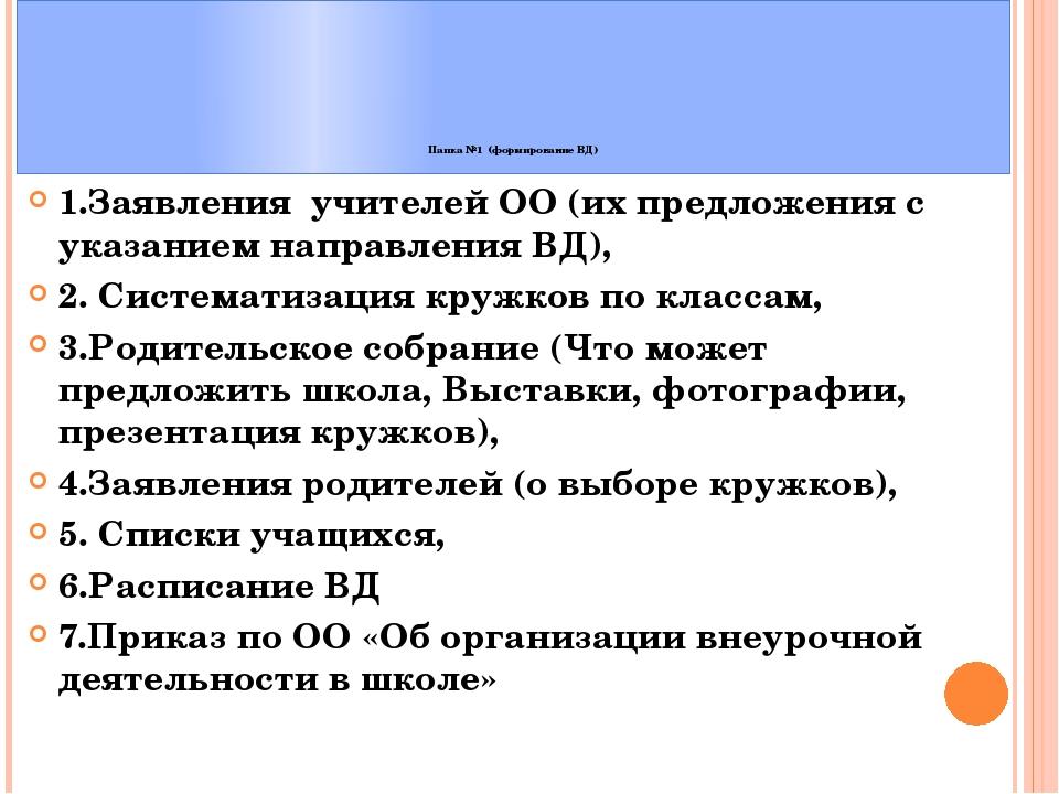 Папка №1 (формирование ВД) 1.Заявления учителей ОО (их предложения с указани...