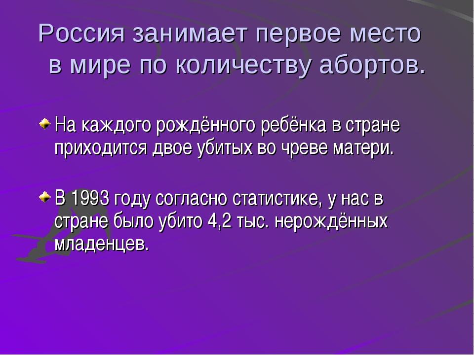 Россия занимает первое место в мире по количеству абортов. На каждого рождённ...