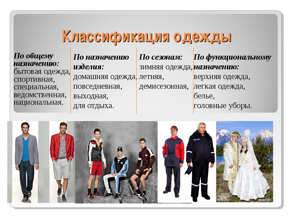 Классификация одежды По общему назначению: бытовая одежда, спортивная, специ...