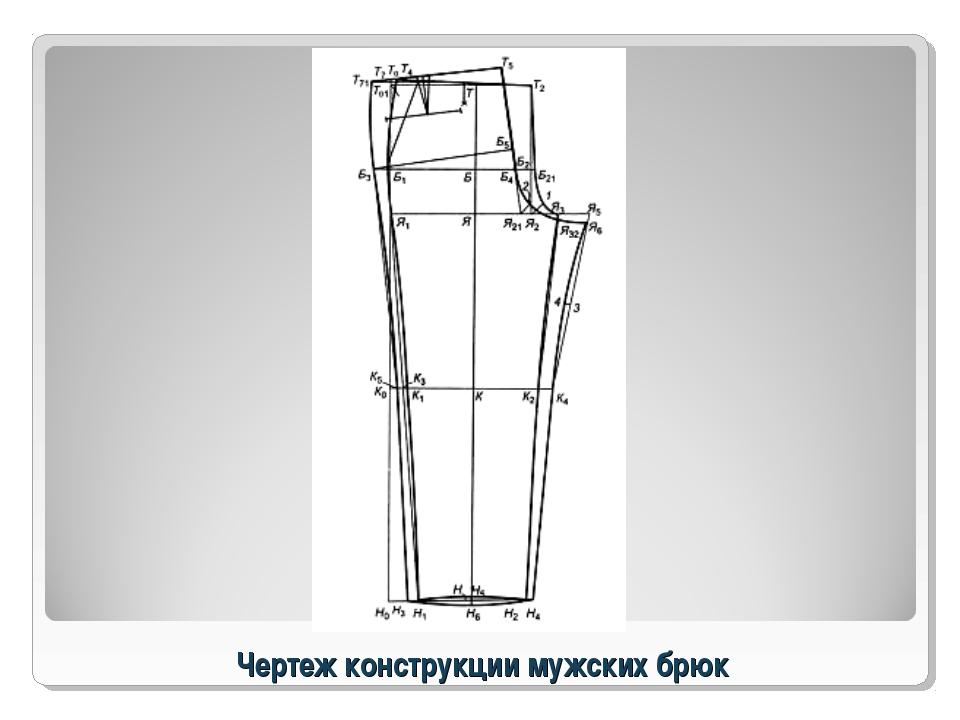 Чертеж конструкции мужских брюк