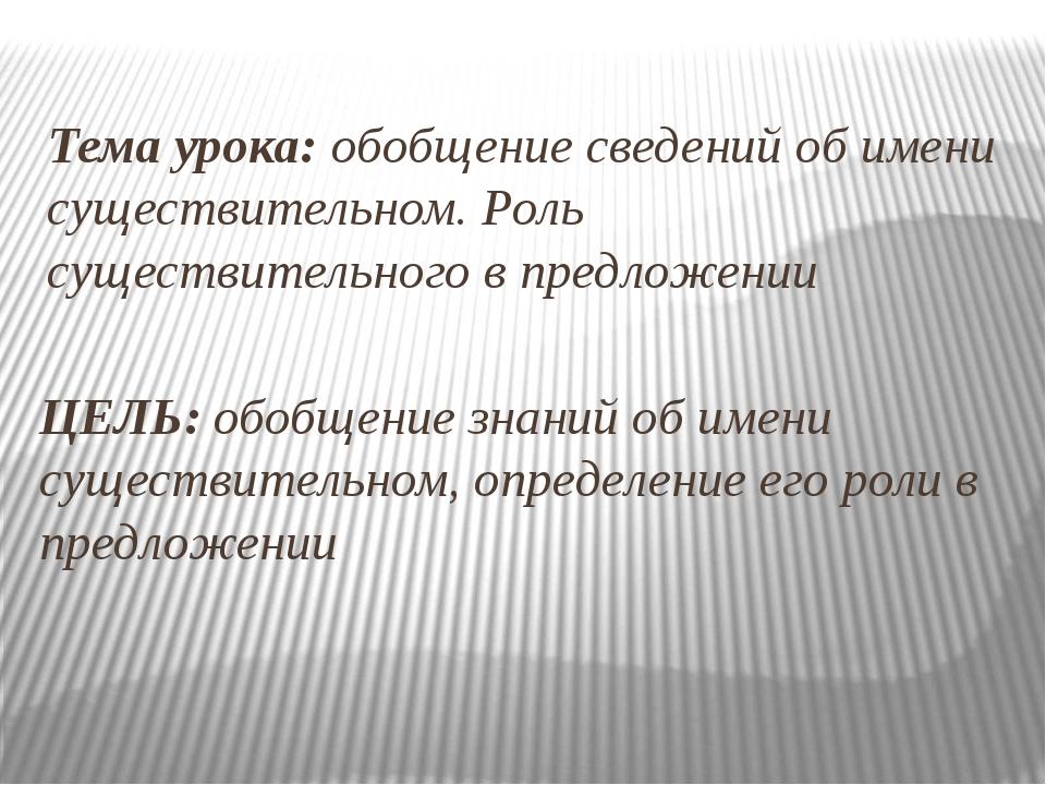 Тема урока: обобщение сведений об имени существительном. Роль существительног...